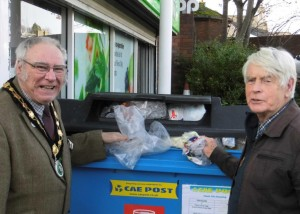 Mayor of Brecon, Councillor Ieuan Williams, at the launch of the  plastic film recycling scheme with Chair of Cae Post, John Harrington.
