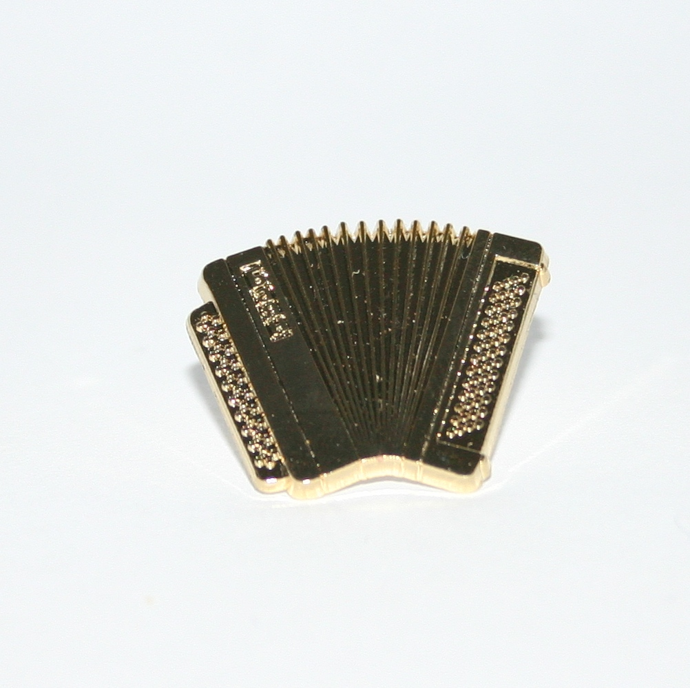 Gold accordion pin badge
