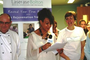 Dorret Conway announcing the winners of the Big Bolton Charity Cake Bake
