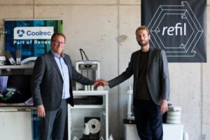Ron Cramer from Coolrec left and Casper van der Meer from Refil launch the new 3d printer filament